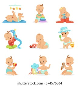 Adorable Girly Cartoon Babies Playing With Their Stuffed Toys And Development Tools Set Of Cute Happy Infants