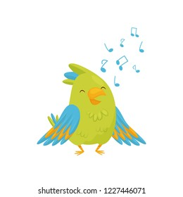 Adorable green parrot singing song. Cartoon bird character with bright green and blue feathers. Flat vector icon