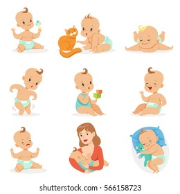 Adorable Happy Baby And His Daily Routine Set Of Cute Cartoon Infancy And Infant Illustrations