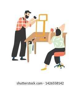 Adorable happy romantic couple creating or repairing furniture. Cute funny man and woman enjoying their hobby together. Pair of people woodworking. Flat cartoon colorful vector illustration.