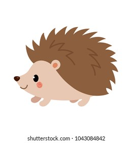 Adorable hedgehog in modern flat style. Vector.