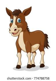 Adorable Horse Cartoon. Vector Illustration