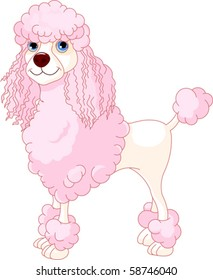 Adorable illustration of cute Pink Poodle