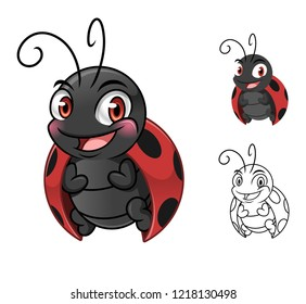 Adorable ladybug cartoon character mascot design, including flat and line art design, isolated on white background, vector clip art illustration.