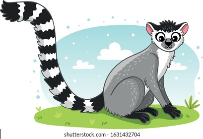 Adorable lemur. Exotic animals in tropical forest or rainforest. Flora and fauna of tropics. Cute funny inhabitants of jungle. Cartoon colorful vector illustration.