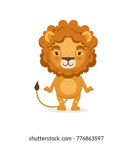 Adorable lion cartoon character standing and posing with paws down. Children print for t-shirt, card or book. Flat design vector illustration isolated on white.