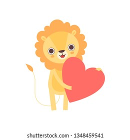 Adorable Lion Standing with Red Heart, Funny African Animal Cartoon Character Vector Illustration