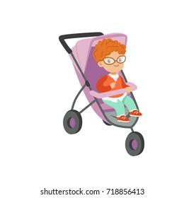 Adorable little boy sitting in modern stroller, safety handle transportation of small kids vector illustration