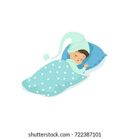 Adorable little boy sleeping on his bed wearing blue hat cartoon character vector illustration