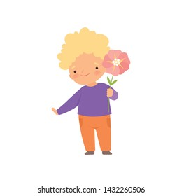 Adorable Little Boy Standing with Pink Flower Cartoon Vector Illustration