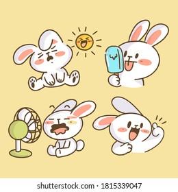 Adorable Little Bunny Rabbit Doodle Illustration Collection. Best for Print, Digital Asset, Avatar. Premium Vector