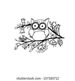 Adorable little doodle owl, outlines