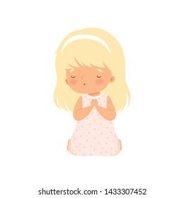 Adorable Little Girl Kneeling in Prayer Cartoon Vector Illustration