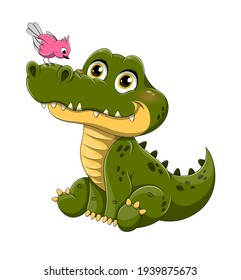 Adorable little green crocodile with a colorful pink bird perched on its nose isolated on white, colored cartoon vector illustration isolated on white background