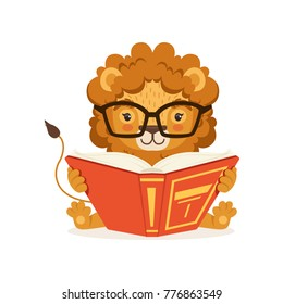 Adorable little lion cartoon character wearing glasses and reading book. Print for children educational infographic or poster. Flat vector