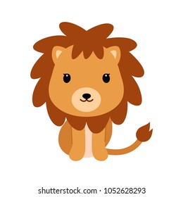 Adorable little lion in flat style.
