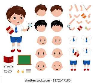 Adorable little school boy character constructor. Cartoon style vector illustration.