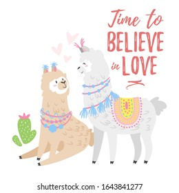Adorable llamas couple flat illustration. Time to believe in love red handwritten lettering isolated on white. Lovely alpacas cartoon characters. Valentine day greeting card, t shirt print design idea
