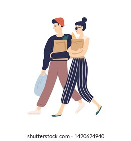 Adorable modern young couple carrying bags with purchases. Happy funny boy and girl doing grocery shopping. Everyday routine of cute romantic partners. Flat cartoon colorful vector illustration.
