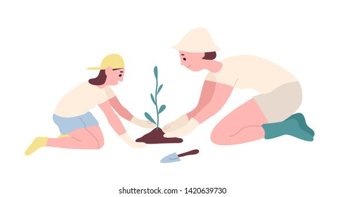 Adorable mother and daughter planting seedling or tree in garden. Happy smiling mom and child cultivating plant outdoors. Family recreational activity. Flat cartoon colorful vector illustration.