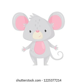 Adorable mouse with shiny eyes. Cartoon rodent with pink belly, big ears and long tail. Flat vector icon
