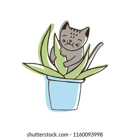 Adorable nasty cat eating houseplants. Naughty kitten gnawing plant growing in pot. Problematic behavior of disobedient domestic animal or pet. Colored hand drawn vector illustration in doodle style.