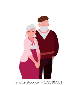 adorable old couple sharing at home vector illustration design