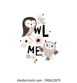 adorable owl tee graphic for kids