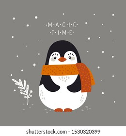 Adorable penguin in scarf isolated on background with snowflakes. Cute funny cartoon arctic animal. Merry Christmas holiday festive Illustration in flat cartoon style for greeting card, poster, print.