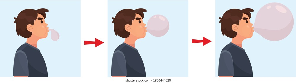 Adorable preteen boy blowing up a balloon isolated on a over purple background