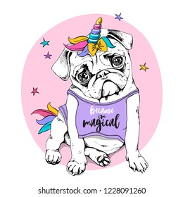 Adorable Puppy Pug in a bright colored costume of a unicorn: wig, horn and tail. Vector illustration. Because i'm magical - lettering quote. Humor poster, t-shirt composition, hand drawn style print.