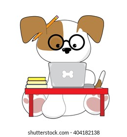 An adorable puppy is sitting at a laptop wearing glasses and has a pencil by his ear