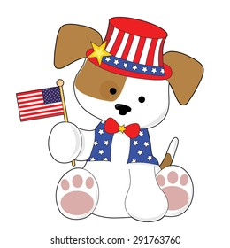 An adorable puppy wearing a top hat and holding the American flag. He is all ready for the Fourth of July