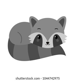 Adorable raccoon in flat style. Vector.