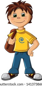 Adorable School boy with backpack - vector illustration