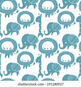 Adorable seamless blue and white lion, giraffe and elephant pattern