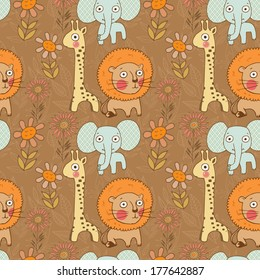 Adorable seamless lion, giraffe and elephant with flowers