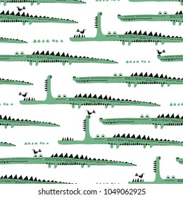 Adorable seamless pattern with funny crocodiles. Ideal for cards, invitations, party, banners, kindergarten, baby shower, preschool and children room decoration.