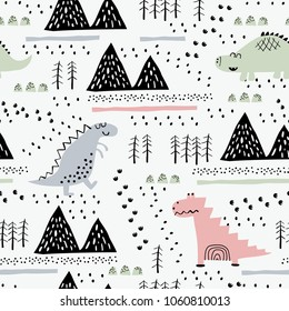 Adorable seamless pattern with funny dinosaurs in cartoon. Perfect for cards, invitations, party, banners, kindergarten, baby shower, preschool and children room decoration.