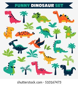 Adorable set with funny dinosaurs
