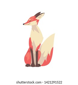 Adorable Sitting Red Fox Character Cartoon Vector Illustration