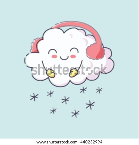 adorable smiling cute winter snow cloud stock vector royalty free
