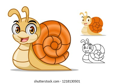 Adorable snail cartoon character mascot design, including flat and line art design, isolated on white background, vector clip art illustration.