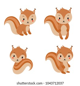 Adorable squirrels collection in modern flat style. Vector illustration isolated on white background.