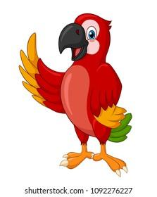 Adorable standing macaw waving cartoon. Vector Illustration