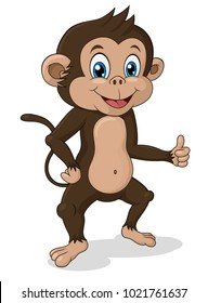 Adorable standing monkey with thumb up. Vector Illustration