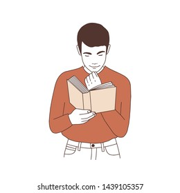 Adorable thoughtful young man reading book or preparing for examination. Portrait of pensive student or literature reader isolated on white background. hand drawn vector illustration.