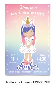 Adorable unicorn girl birthday party invitation