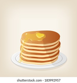 Adorable vector pancakes with a piece of butter on top