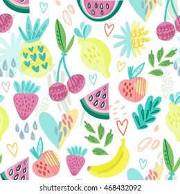 Adorable vector pattern of fruits and hearts  in cool style. Perfect for textile, products for kids, wallpaper.